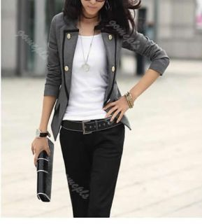 Fashion Womens One Button Frills Slim Suit Blazer OL Jackets Coat Outerwear
