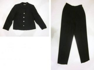 Women's Valerie Stevens Black 2 Piece Silk Suit Blazer Pants Both Size 10