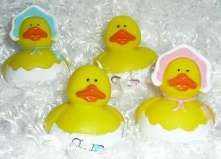 12 Baby Rubber Ducks Boy Girl Dozen Ducky Shower Favors Decoration Bonnet Diaper