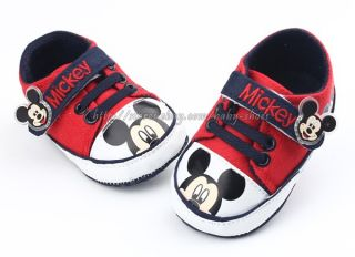 Baby Boy Girl Red Mickey Mouse Crib Shoes Sneakers Size Newborn to 18 Months