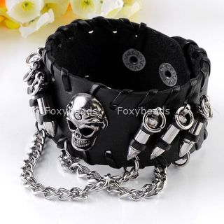 Men's Black Leather Bullet Skull Metal Chain Bracelet Punk Biker Rock Gothic
