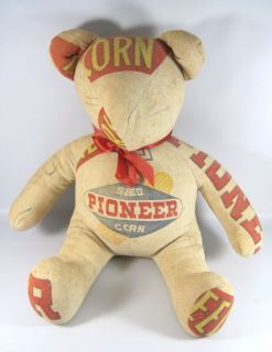 Vtg Pioneer Seed Corn Grain Bag Teddy Bear Never Seen Anything Like It