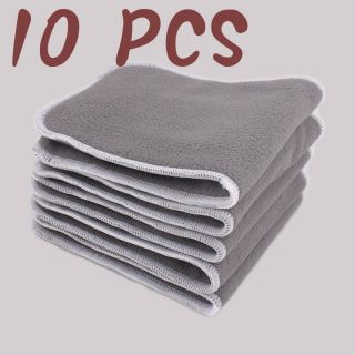 10 Pcs Bamboo Fiber Charcoal Cloth Diaper Newborn Washable Insert Nappy Reusable