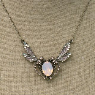 Anne Koplik Jewelry Whimsical Side Dragonfly Rose Opal Crystal Necklace