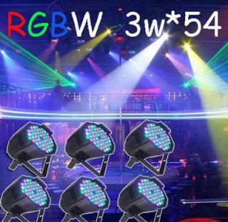 6pcs 3W 54 RGBW LED Par 64 LED Stage Light Double Yokes for DJ Club KTV