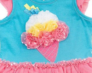 New Baby Girls RARE Editions 24M Aqua Pink Ice Cream Tutu Outfit Dress Clothes