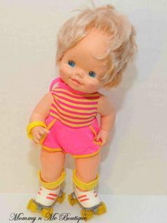 Vtg 1980s Mattel Baby Skates Skating Doll Toy