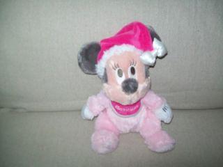 New Tags Disney World Baby First Christmas Pink Minnie Bean Bag Shaggy Plush