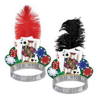 Casino Theme Party Card Foil Feather Las Vegas Style Tiara