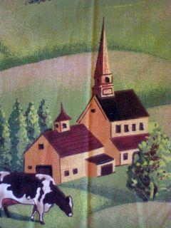Dairy Farm Covered Bridge Church Black White Cow Cotton Fabric 46 x 36