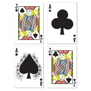 Las Vegas Casino Themed Party Pack of 4 Playing Card Blackjack Decorations