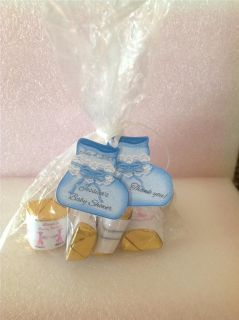 Baby Shower Favor Tags Pink or Blue Baby Booties Personalized