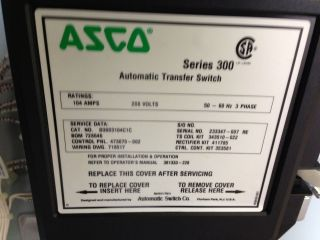 Asco 300 Series 104 Amp 208 Volt Automatic Transfer Switch