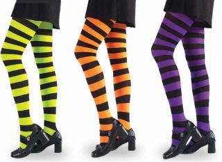 Adult Striped Neon Green Black Tights Costume New