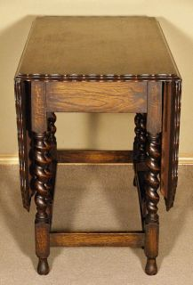 Antique English 5ft Oak Barley Twist Gateleg Table