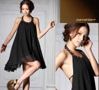 Sexy Sleeveless Backless Jewel Chiffon Halter Party Evening Dress Cocktail Black