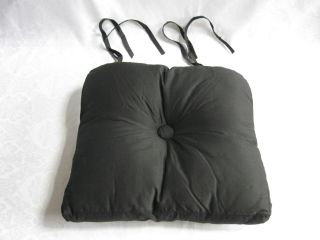 Mackenzie Childs Courtly Check Black Backed Button Tuft Chair Cushion Indoor New