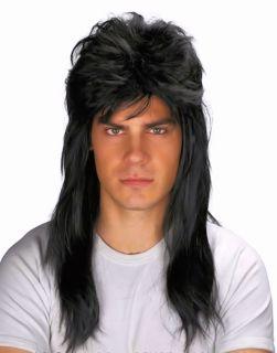 Men's Fancy Dress Costume Wig 80's Rock Star Bogan Mullet Quality Black Washable