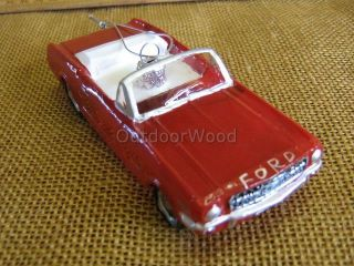 Blown Glass Red Ford Mustang Car Christmas Ornament New