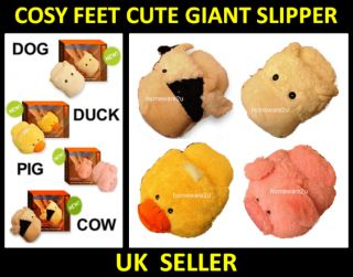 Cosy Cute Soft Giant Feet Foot Warmer Slipper Animal Novelty Duck Dog Cow Pig