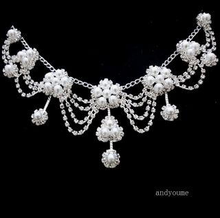 Swarovski Crystal Pearl Wedding Party Bridal Jewelry Set Necklace Earrings 0024D