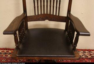 Swivel Antique Oak Desk Armchair Pat 1895 Leather Seat