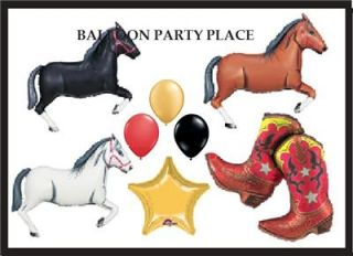 Western Rodeo Balloons Party Supplies Decorations Boot Brown Black Horses Farm