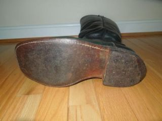 Civil War Reenactment Men's Black Tall Leather Boots Size 8 1 2