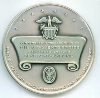 1960 Silver U s s Enterprise Aircraft Carrier Medal 4 2 Ozs