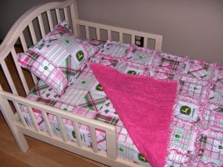 Baby John Deere Teddy Fabric Crib Bedding Rag Quilt Set