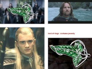Hot Lord of The Rings Green Leaf Elven Pin Brooch Pendant with Chain Necklace