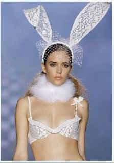 New White Sexy Lace Bunny Ears Veil Mask Halloween Masquerade Costume Head Hoop