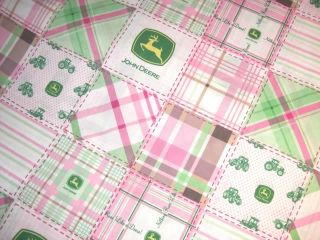 John Deere Tractor Madras Pink Plaid Patchwork Quilt Cotton Fabric Bt½yd