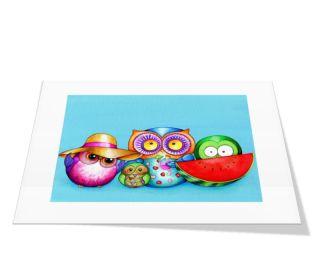 Summer Beach Owl Family Colorful Cute Owl Wall Art Kids Nursery Painting