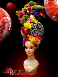 Tall Turban Style Traditional Showgirl Latin Fruit and Flower Delicate Headdress