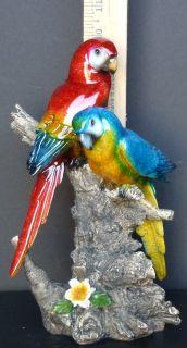"Feathers 2 Parrots on Limb Figure Statue H10"""