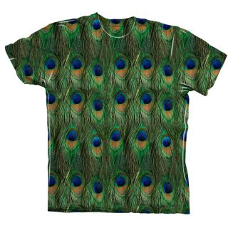AnimalShirtsUSA Peacock Feathers Tagless Mens Shirt