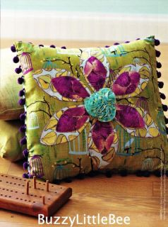 Quilt Pattern Pop Art 3D Flower Pillow Applique Ruffled Rosettes Fringe Feminine