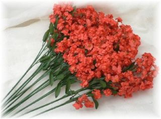 12 Red Coral Babys Breath Wedding Silk Gypso Flowers Fillers Centerpiece Bouquet