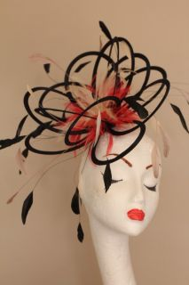 New Black Coral Nude Feather Fascinator Hat Ascot
