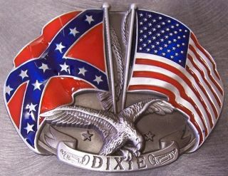 CSA Pewter Belt Buckle US Confederate Flags Crossed N