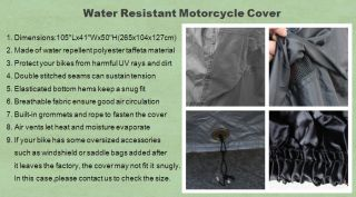 XL Large Size Motorcycle Cover Fit Harley Davidson FL Touring Bikes MM3AB