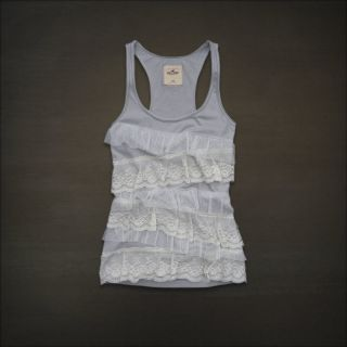 Hollister Abercrombie Women Gray Grey Lace Ruffle Tank Top Cami Shirt Large