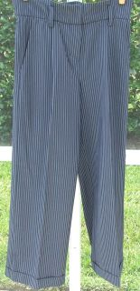 Diane Gilman Navy Blue White Pinstripe High Waist Polyester Spandex Pants 14 New