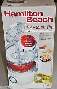 New Hamilton Beach 70595 Big Mouth Pro 14 Cup Food Processor Chops Whole Foods
