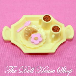 Fisher Price Loving Family Dollhouse Kitchen Doll Yellow Desert Tray Food Drink