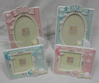 13 5cm Photo Frame Pink Teddy Bear Moon Stars Diamontes Great Baby Girl Gift