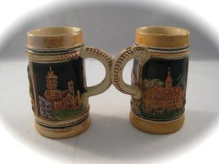Vintage Small German Decorative Beer Steins Set of 2 Raised Relief Foreign Nice