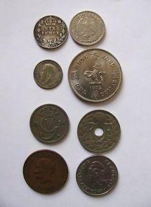 8 Foreign Coins 1902 1925 1924 1943 1967 1938 1972 1927 Hongkong Sweden France