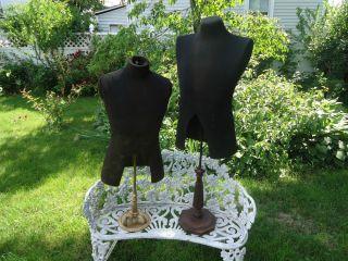 Pair Antique Mannequins Dress Forms Mens CA 1910 Steampunk Vintage Folk Art RARE